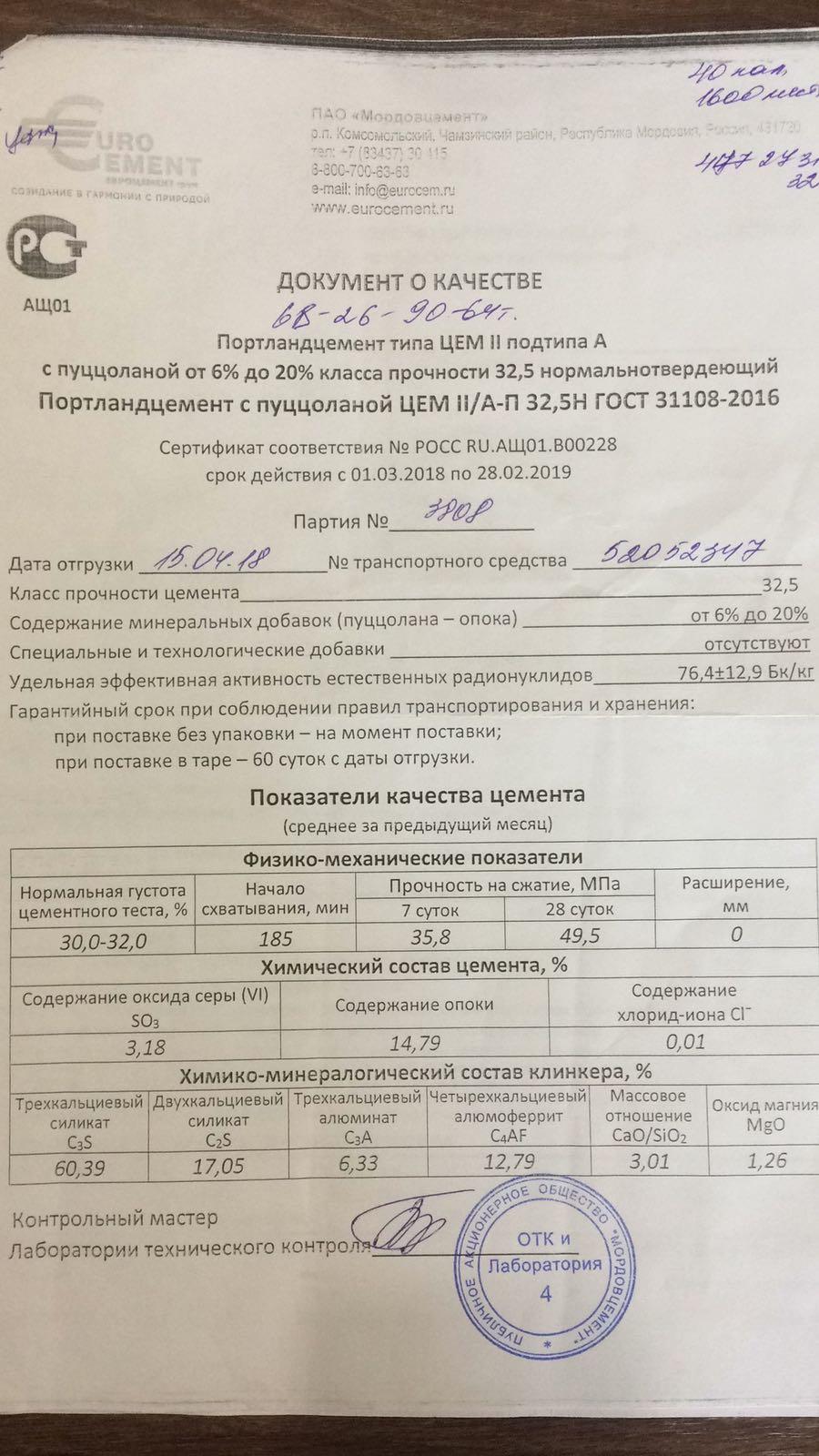 сертификат качества цемент м400